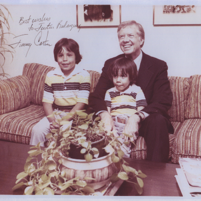 A young Justin Rodriguez seen here with older Brother Stephen & President Jimmy Carter during a historic visit to their Family home in Los Angeles, 1979.