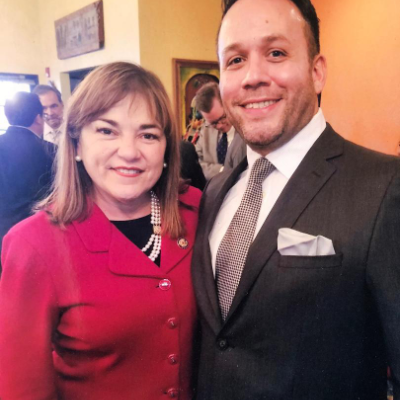 Attorney Justin Rodriguez with Loretta Sanchez former United States House of Representative from 1997 to 2017. Sanchez represented the 46th district from 1997 to 2003, then California's 47th congressional district from 2003 to 2013, and again in the 46th district from 2013 to 2017.