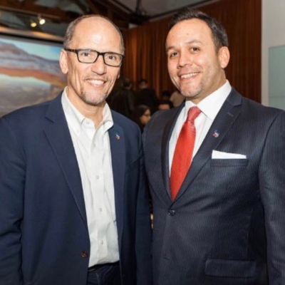 Attorney Justin Rodriguez with Tom Perez , Chair of the Democratic National Committee since February 2017. Perez was previously Assistant Attorney General for Civil Rights and United States Secretary of Labor.