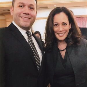 Attorney Justin Rodriguez with Senator Kamala Harris, Presidential Candidate and former Attorney General for California.