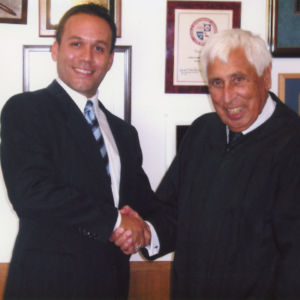 Attorney Justin Rodriguez being sworn-in by the Honorable Superior Court Judge Victor E. Chavez.