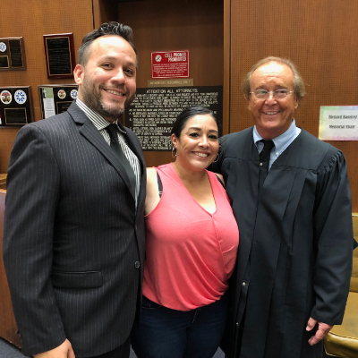 Attorney Justin Rodriguez with Client J. Torres & The Honorable Superior Criminal Court Judge Tynan. Judge Tynan has presided over several alternative sentencing programs for nearly two decades to help military veterans, drug addicts, the mentally ill & women convicts who seek rehabilitation instead of incarceration.