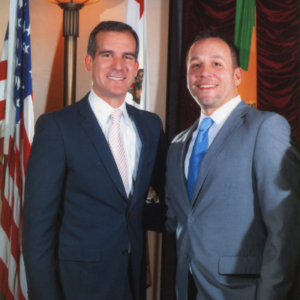 Attorney Justin Rodriguez with Mayor of Los Angeles, Eric Garcetti.