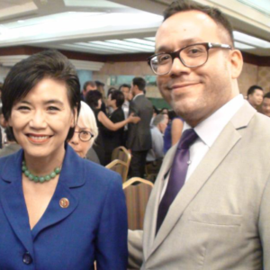 Attorney Justin Rodriguez with Judy Chu, the Democratic representative from California's 27th Congressional District in the U.S. House and the first Chinese American woman elected to the U.S. Congress.
