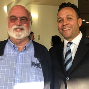 Attorney Justin Rodriguez with Father Gregory Boyle, S.J. of the Jesuit order; founder and Director of Homeboy Industries, the world's largest gang-intervention and rehabilitation program